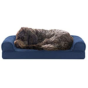 Furhaven Pet Dog Bed – Cooling Gel Memory Foam Quilted Traditional Sofa-Style Living Room Couch Pet Bed with Removable Cover for Dogs and Cats, Navy, Medium