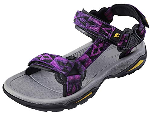 CAMEL CROWN Waterproof Hiking Sandals Women Arch Support Sport Sandals Comfortable Walking Water Sandals for Beach Travel Athletic Purple