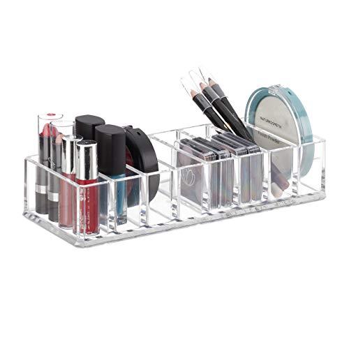 Relaxdays Make Up, Flacher Lidschatten Organizer mit 8 Fächern, Kunststoff, HBT 4,5 x 22 x 8,5 cm, transparent, 1 Stück