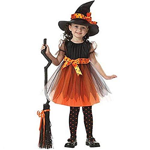 🎃 Romantic Halloween Kostüme Kinder Baby Mädchen Halloween Cosplay Spitze Tutu Rock Mädchen Hexekostüme + Halloween Cosplay Hexe Hut Mädchen 2er Set für Karneval Halloween Party Outfits Set