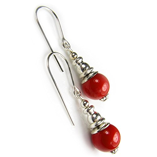 Black Moon Sterling Silver and Coral Red Short Drop Pearl Earrings