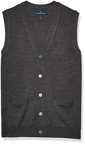 Amazon Brand - Buttoned Down Men's Italian Merino Wool Lightweight Cashwool Button-Front Sweater Vest, Dark Grey Medium