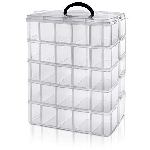 BELLE VOUS Caja Almacenamiento Plástico Transparente 5 Niveles - Ranuras de Compartimentos Ajustables - Caja Organizadora Plastico- Máximo 50 Compartimentos - Guardar Juguetes Joyas, Cuentas