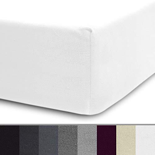 Lumaland Luxury Jersey Spannbettlaken für Wasserbett und Boxspringbett 100% Baumwolle mit Rundum-Gummizug 180-200 x 200-220 cm Weiß