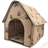 Teeyyui Casa para Mascotas, Casa Plegable para Perros Semicerrada, Perrera para Mascotas con Huellas, Portátil, Lavable, para Viajes En Casa Al Aire Libre