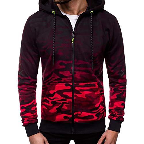 Sweat à Capuche pour Homme Camouflage Pull à Manches Longues avec Capuche Tops Blouse Camouflage Imprimé Zipped Veste Jacket de Sport à Capuche Cebbay(Rouge,L)