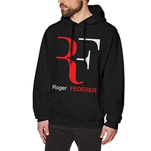 Yuantaicuifeng Sudadera de manga larga con logotipo de Roger-Feder, para hombre, color negro Negro L