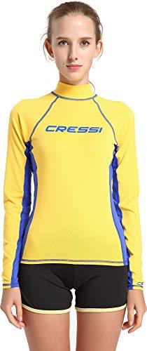 Cressi Damen Rash Guard Lady Long Sleeve - Schutzhemd mit langen Ärmeln, UV-Schutz (UPF), Gelb/Royal Blau, S/2 (38)