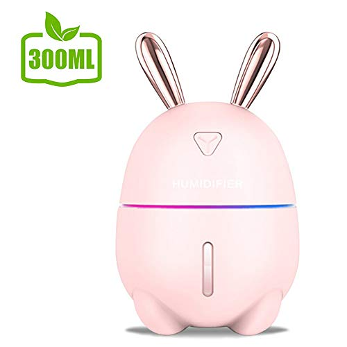 AIGUO Humidificateur, Humidificateur d'air, Humidificateur bb, Humidificateur d'air maison, Mini purificateur d'air, 300ML 8-12 Heures Temps de Fonctionnement Brume Frache Super Silencieux. (Pink)