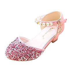 01-Pink Sparkle Mary Janes Low Heel Sandals