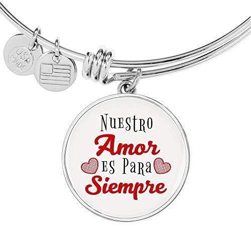 Pulsera de acero inoxidable con texto en inglés «Nuestro Amor ES para Siempre Circle Bangle de oro de 18 quilates»