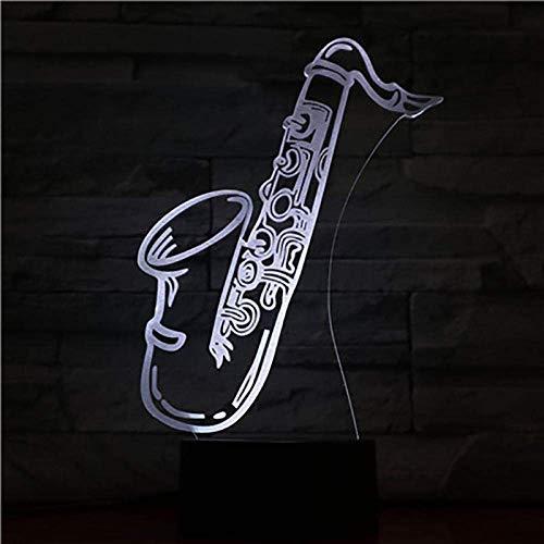 3D llevó la luz de la noche de la ilusión de la luz USB saxo multicolor niños niños niños bebé regalos instrumento musical atmósfera neón lámpara de mesa