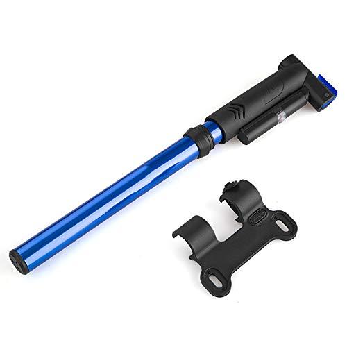 CXQWAN Pompe à vélo, avec Save Tuyau Flexible énergie et Facile Pompage, Convient Presta et Schrader Valve, Accessoires-Ball Pompe sans Aiguille/Glueless Kit Patch,Bleu