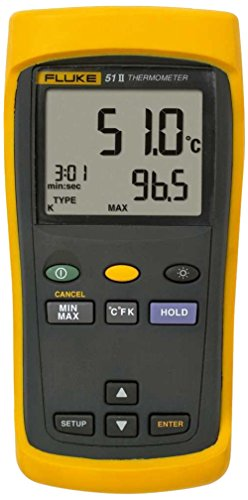 Fluke - 51-2 60HZCAL 51-2 Single Input Digital Thermometer, 3 AA Battery, -418 to 2501 Degree F Range, 60 Hz Noise Rejection with a NIST-Traceable Calibration Certificate with Data