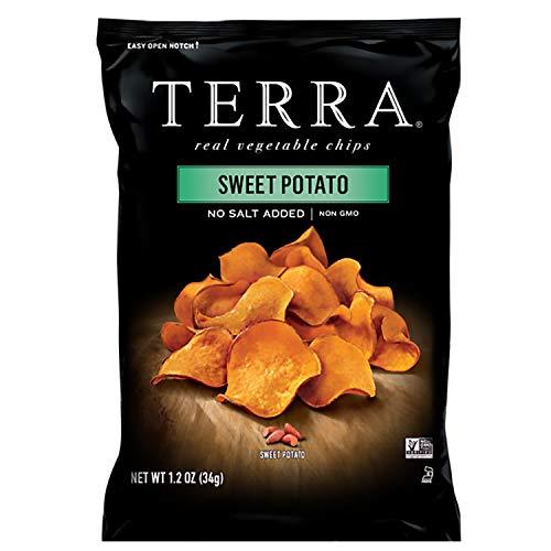 Terra Sweet Potato Vegetable Chips, No Salt Added (Pack of 24)