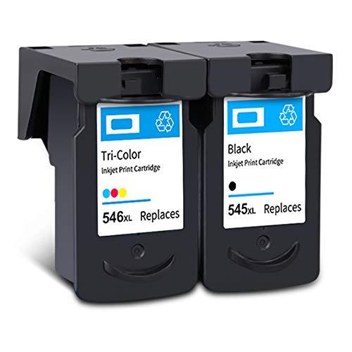 Cartucho de tinta PG-545XL CL-546XL, repuesto de alto rendimiento para impresora Canon Pixma IP2850, MG2450, MG2550, MX495, TS205, TS305, TS3150, TR4550, negro y tricolor, 1 negro, 1 tricolor