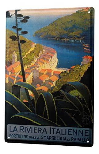 Losea Wanderlust City Portofino Metal Tin Sign, Wall Decor Plaque Poster,12x16 Inches