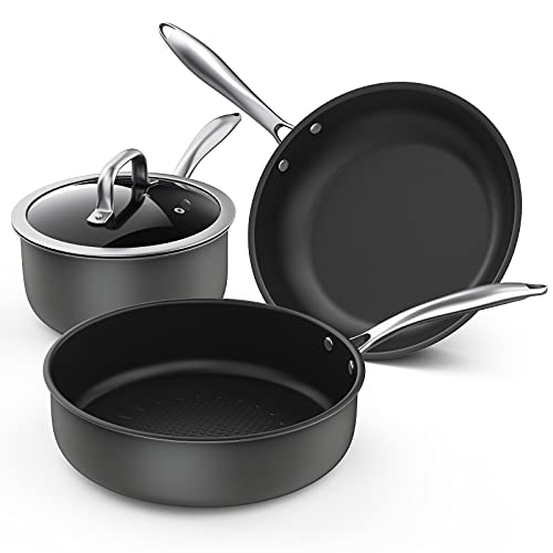 Nonstick Frying Pan Set, Induction Cookware with 4 Pieces, Momostar Skillets Nonstick with Lids,...