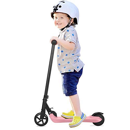 Q2 Scooter eléctrico para niños, Eléctrico Plegable E Scooter 2 Ruedas 2AH 5 Pulgadas Neumático sólido 4-6 km / h Barato Plegable Portátil Patinetes para niños niñas niños (Rosa)