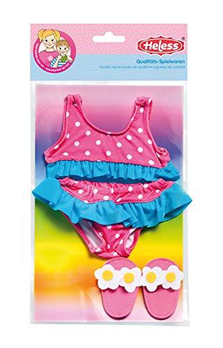Heless 787 - Schwimmset für Puppen, 3 teilig, flotter Bikini mit Badeschläppchen, Größe 35 - 45 cm, für Badespaß an heißen Sommertagen