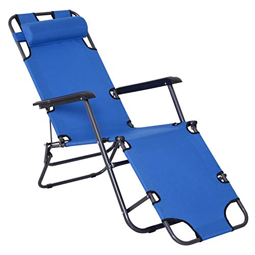 Outsunny 2 in 1 Sun Lounger Folding Reclining Chair Garden Outdoor Camping Adjustable Back with Pillow (Blue)