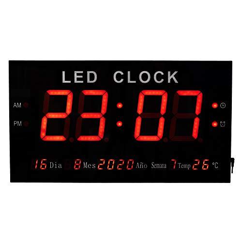 JEVX Reloj Digital de Pared Gigante XXL - para Colgar Numeros Grandes Led de Color Rojo Medidor de Temperatura Calendario Fuente de Alimentacion Termometro