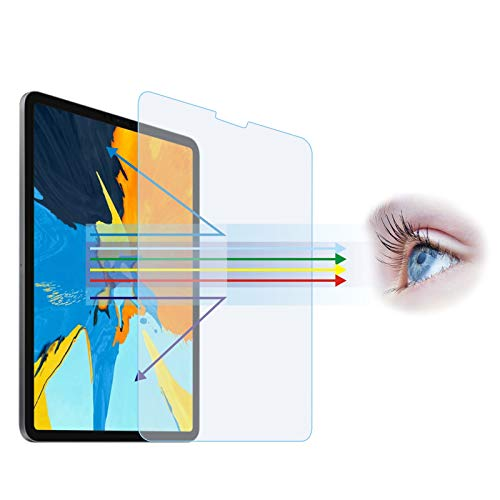 "Entwth Anti Blue Light Tempered Glass Screen Protector[2 Pack] for iPad Air 10.9""(4th 2020) & iPad Pro 11-inch(2nd Gen 2020/ 1st Gen 2018)[Eye Care,Relieve Eye Fatigue]Blocks Excessive Harmful Blue Light & UV 9H Anti-Scratches"