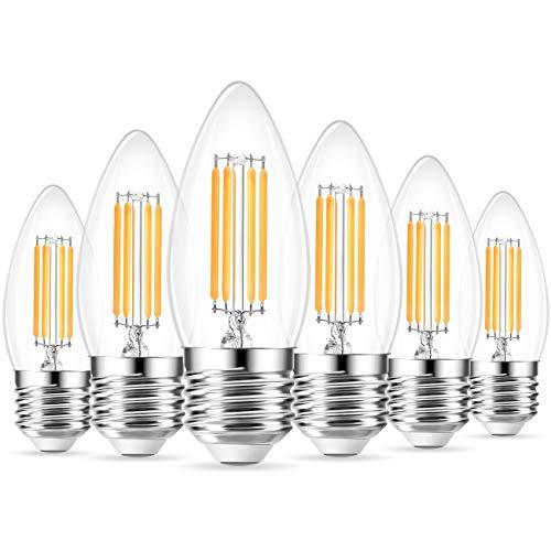 ANWIO B11 LED Filament Bulb E26 Candelabra Base, 3000K Soft White Dimmable 4W(40W Equivalent) LED Bulbs Decorative Candle Bulb, Pack of 6