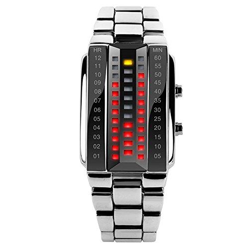 Reloj de pulsera LED TTLIFE 1013, para hombre, resistente al agua 30m, mujer Unisex Infantil Niños hombre, plata