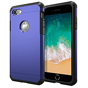 ImpactStrong Compatible with iPhone 7/8 Case Heavy Duty Dual Layer Protection Cover Heavy Duty Case Designed for iPhone 7/8  Navy Blue