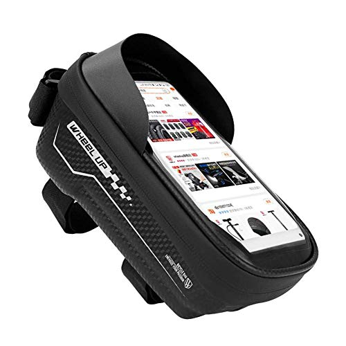 Yxxc Bike Phone Front Frame Bag, Waterproof Bicycle Cellphone Mount Pack Cycling Top Tube Handlebar Bag Sensitive Touch Screen Large Storage Phone Case Holder,Smart Phone Below 6 Inch B