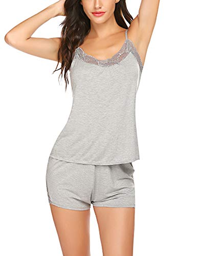 BEAUSOM Cami Pajamas Set Womens Lace Nightwear Sleep Cami PJS Set with Shorts(Gray,XL)