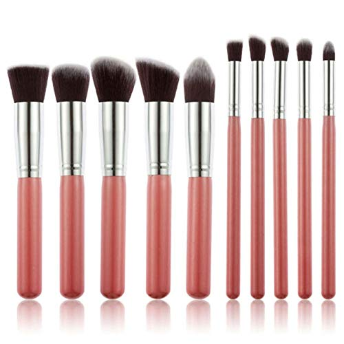 LILONGXI Pinceau De Maquillage,10 Pc Soft Set Pink Silver Cosmetics Eye Concealer Fard Eyeliner Sourcil Nez Ombre Lâche Makeup Foundation Alliant Maquillage Blush Pratique Outil Économique