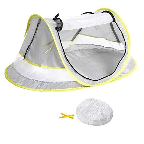 HUSAN moustiquaire tente de plage pour bébé automatique respirant Lit de voyage portatif Safety pour bébé, UPF 50+, lit de plage pour tente pare-soleil