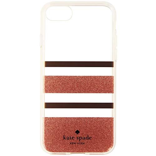 Kate Spade Flexible Hardshell Case for iPhone 7& 8 Charlotte Stripe Rose Gold Foil/Rose Gold Glitter