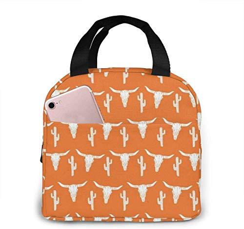 Longhorn Cattle Cow Texas Skull Cactus Bolsa de almuerzo para mujeres,niñas,niños,bolsa de picnic aislada Gourmet Tote Cooler,bolsa cálida para la escuela,trabajo,oficina