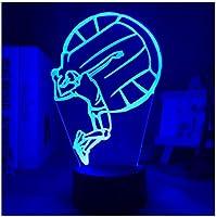 3Dイリュージョンナイトライト 女子バレーボール スマートタッチ LED3Dキッズおもちゃベビースリープデスクランプ寝室の装飾ベッドサイドスマートタッチ7色変化する調光可能、女の子の男の子のための最高のおもちゃの誕生日