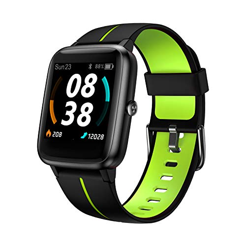 Smartwatch, KUNGIX Fitness Uhr GPS Tracker 5 ATM Wasserdicht Touch Screen Smart Watch mit Pulsuhren Schlafmonitor Schrittzähler Wettervorhersage Sportuhr für Android iOS Damen Herren