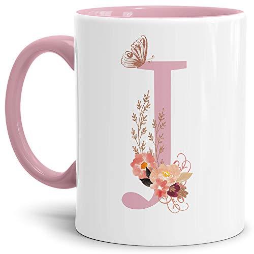 Tassendruck Buchstaben-Tasse mit Blumen - Buchstabe J - Innen & Henkel Rosa - Mug/Cup/Becher/Edel/Geschenk-Idee/Beste Qualität - 25 Jahre Erfahrung