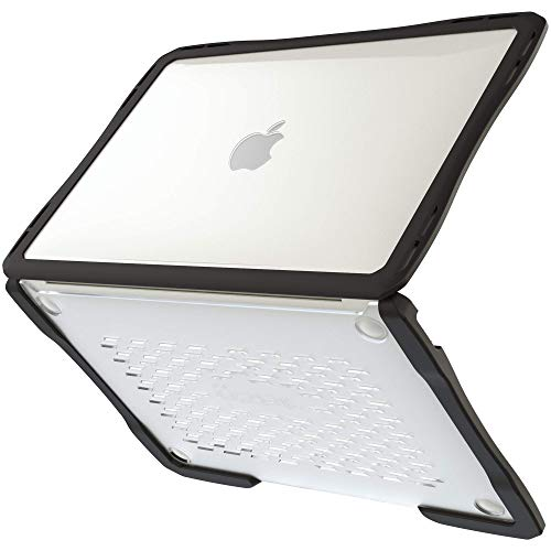 UZBL Case for New Macbook Air 13 inch 2019 2018 Release, [Heavy Duty] Slim Rubberized Protective Edges with Clear Polycarbonate Cover for MacBook Air 2019 2018 A1932