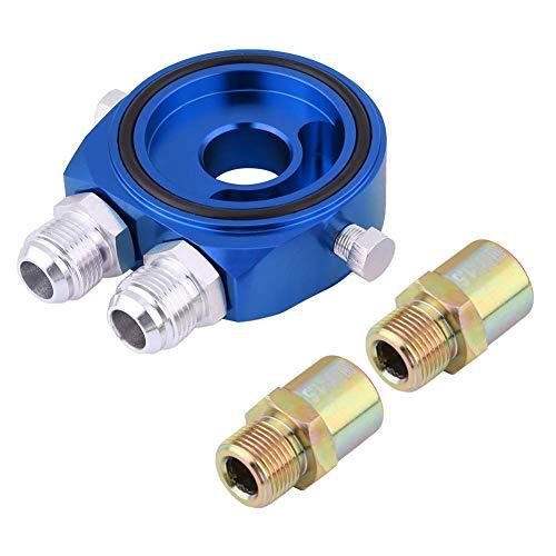 Placa sándwich de filtro de aceite, 1 pieza de aleación de aluminio M20x1.5 Adaptador de placa sándwich de enfriador de filtro de aceite universal 1/8 NPT Kit de enfriador de aceite (azul)