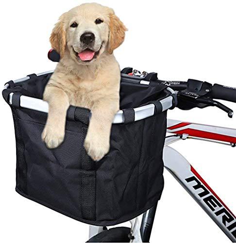 Faltbarer Abnehmbarer Sicherheits-Hundefahrradkorb für kleine Haustiere bis zu 12 Pfund und gut für alle Fahrräder (Black, 1)