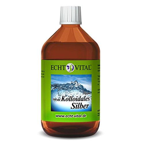 Echt Vital Kolloidales Silber 10 ppm - 1 Flasche mit 500 ml - Reinst-Silber (Reinheitsstufe 99,99%)