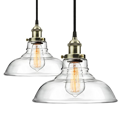 2-Pack Pendant Light Hanging Glass Ceiling Mounted Chandelier Fixture, SHINE HAI Modern Industrial Edison Vintage Style