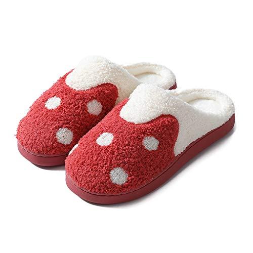 Ciabatte Inverno Pantofole Calde Accogliente Memory Schiuma Scarpe In Cotone Casa In Cotone Pantofole da Casa Con Peluche Fuzzy Per Uomo da Uomo Pantofole Spugna ( Color : Red , Dimensione : 44 - 45 )