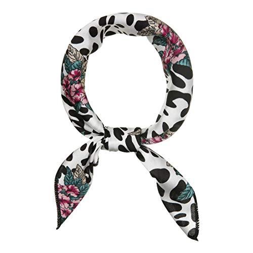 sourcing map 50cm Bufanda De Cuello Cuadrado Vistoso Estampado De Leopardo Pañuelo De Cabeza Pañoleta Para Mujer Blanco Negro 50 * 50 cm / 19,69 * 19,69 pulgadas (L * W)