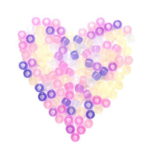 ROSENICE Cuentas de plástico UV claro perlas de color mágicamente cambiante UV Reactive Pony cuentas de luz para la joyería haciendo 1000pcs