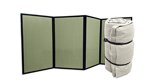 Combinación Tatami Plegable y Futon portátil Crudo, 80x200x4 cm