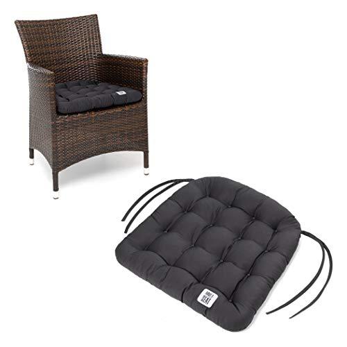 HAVE A SEAT Luxury - Sitzkissen Outdoor, 4er Set Sitzpolster Gartenstuhl (Grau, Anthrazit), Sitzauflage Rattan-Stuhl, bequem, robust, pflegeleicht, waschbar bei 95°C, Trockner geeignet.