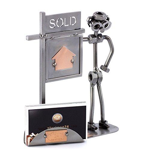 Steelman24 I Figurine en métal Agent Immobilier avec Porte-Cartes De Visite avec Plaque De Gravure I Made in Germany I Idées Cadeaux